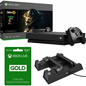 Microsoft Xbox One X 1 TB Fallout 76 Bundle (CYV-00146) Xbox Live 3 Month Gold Membership & Deco Gear Xbox 3-in-1 Vertical Stand Cooling Fan with Dual Controller Charging Station