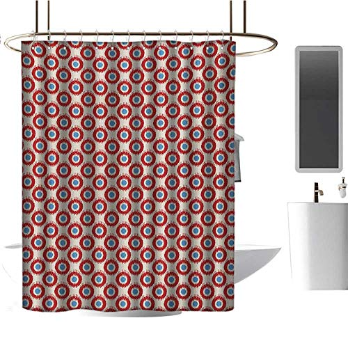 """Qenuan Shower Curtain Ikat,Ancestral Indonesian Circular Motifs Vivid Color Asian Traditional Pattern,Beige Vermilion Blue,for Bathroom Showers, Stalls and Bathtubs 54""""x72"""""""