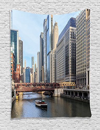 Ambesonne Apartment Decor Collection, The Chicago River between the Great Lakes and the Mississippi Valley Waterways Picture, Bedroom Living Room Dorm Wall Hanging Tapestry, Blue Ivory