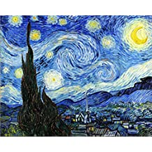 Wowdecor Paint by Numbers Kits for Adults Kids, DIY Number Painting - Starry Night by Van Gogh Beautiful Sky 40 x 50 cm - New Stamped Canvas (No Frame)