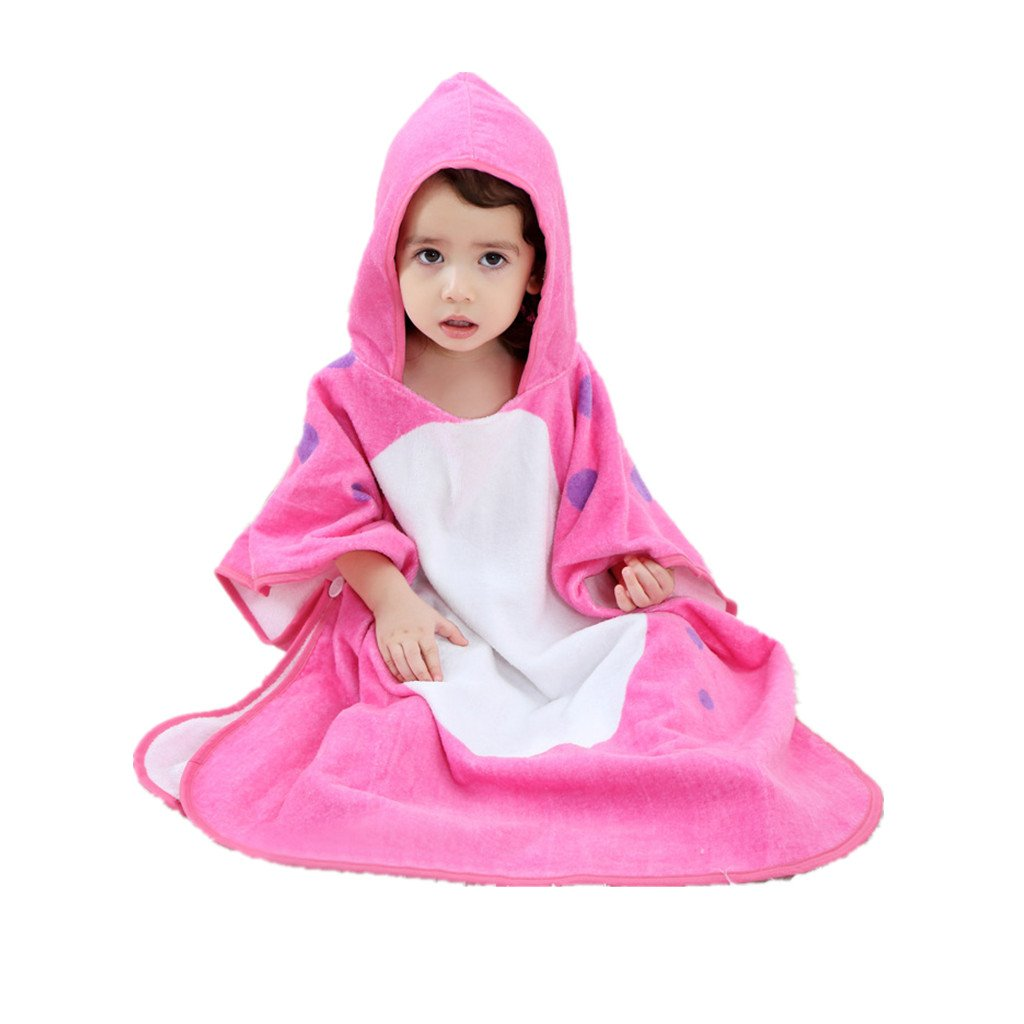 Zilee Kids Hooded Poncho Bath Towel - Boys Girls Cotton Bathrobe Swim Beach Blanket