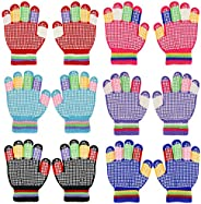 QKURT 6 Pairs Kids Anti-skid Knit Gloves, Winter Warm Stretchy Gloves Unisex Stretch Mittens for 5~8 Years Old