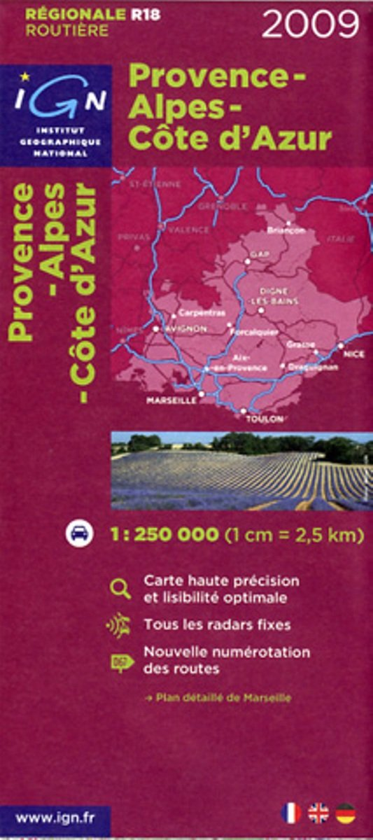 Download IGN (Institut Geographique National) Road Map to Provence - Alpes - Cote d'Azur (France) Scale 1:250,000 (French Edition) PDF