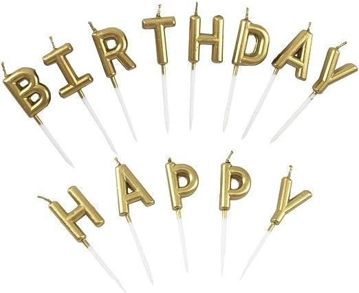Amazon.com: Unique oro Cumpleaños Carta Pastel Velas – Funny ...