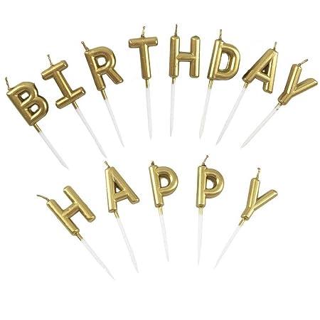Único oro velas para tarta de cumpleaños Carta - Funny Vela ...