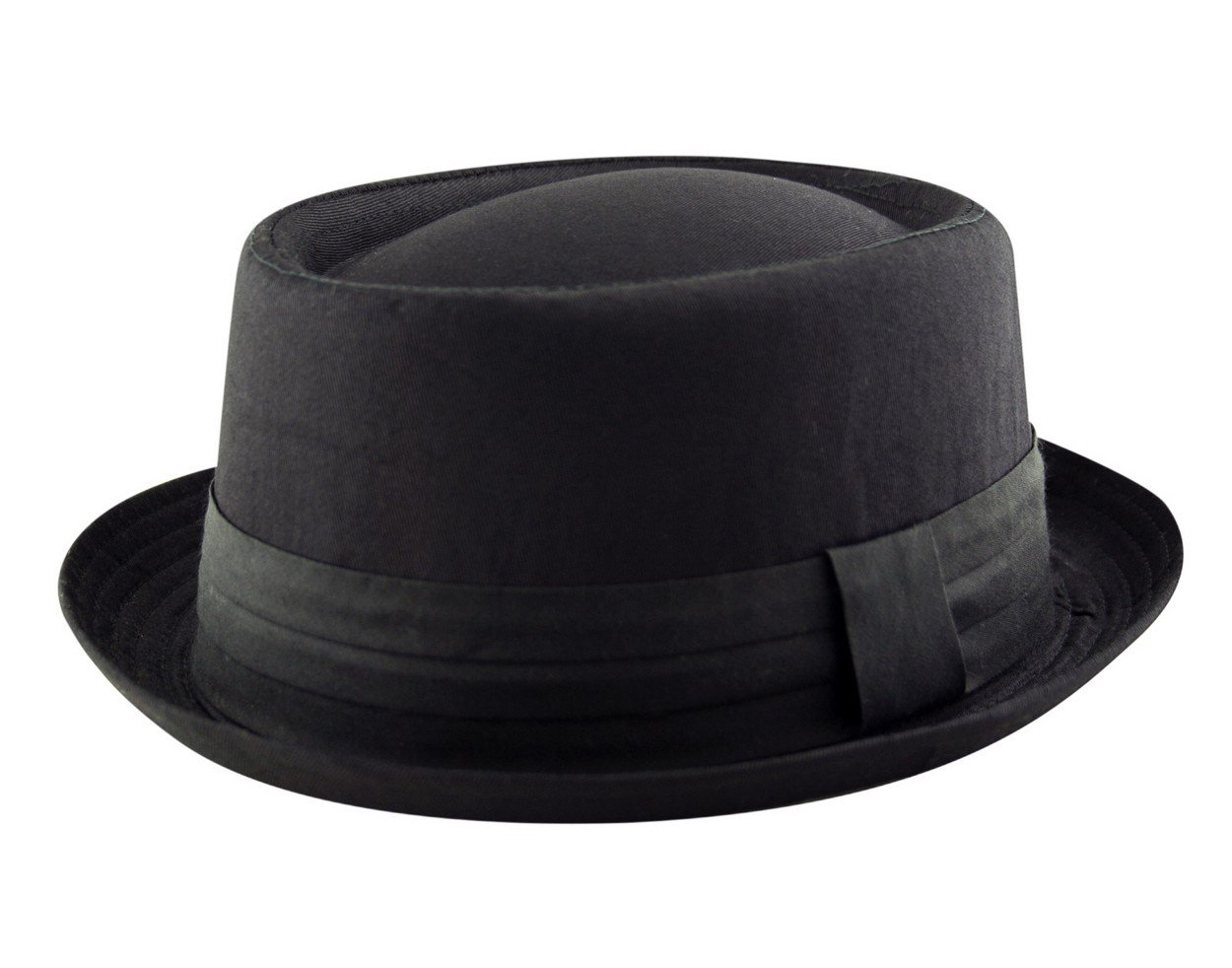 Adult Pork Pie Trilby Fedora 100% Cotton Hat Band Unisex (Breaking Bad Heisenberg Style) in Black