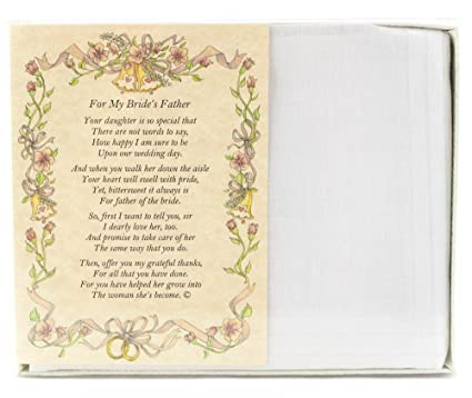 Wedding Handkerchief Poetry Hankie For Groom S Father In Law White Wedding Keepsake Beautiful Poem Long Lasting Memento For The Groom S Father