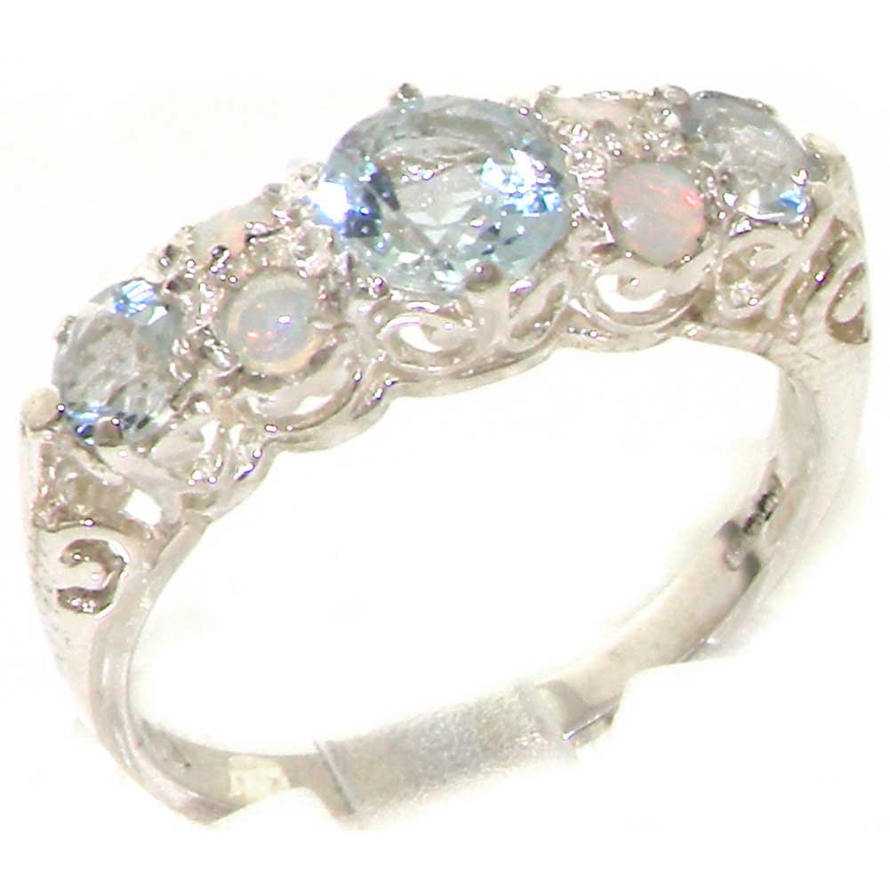 925 Sterling Silver Natural Aquamarine and Opal Womens Band Ring - Sizes 4 to 12 Available