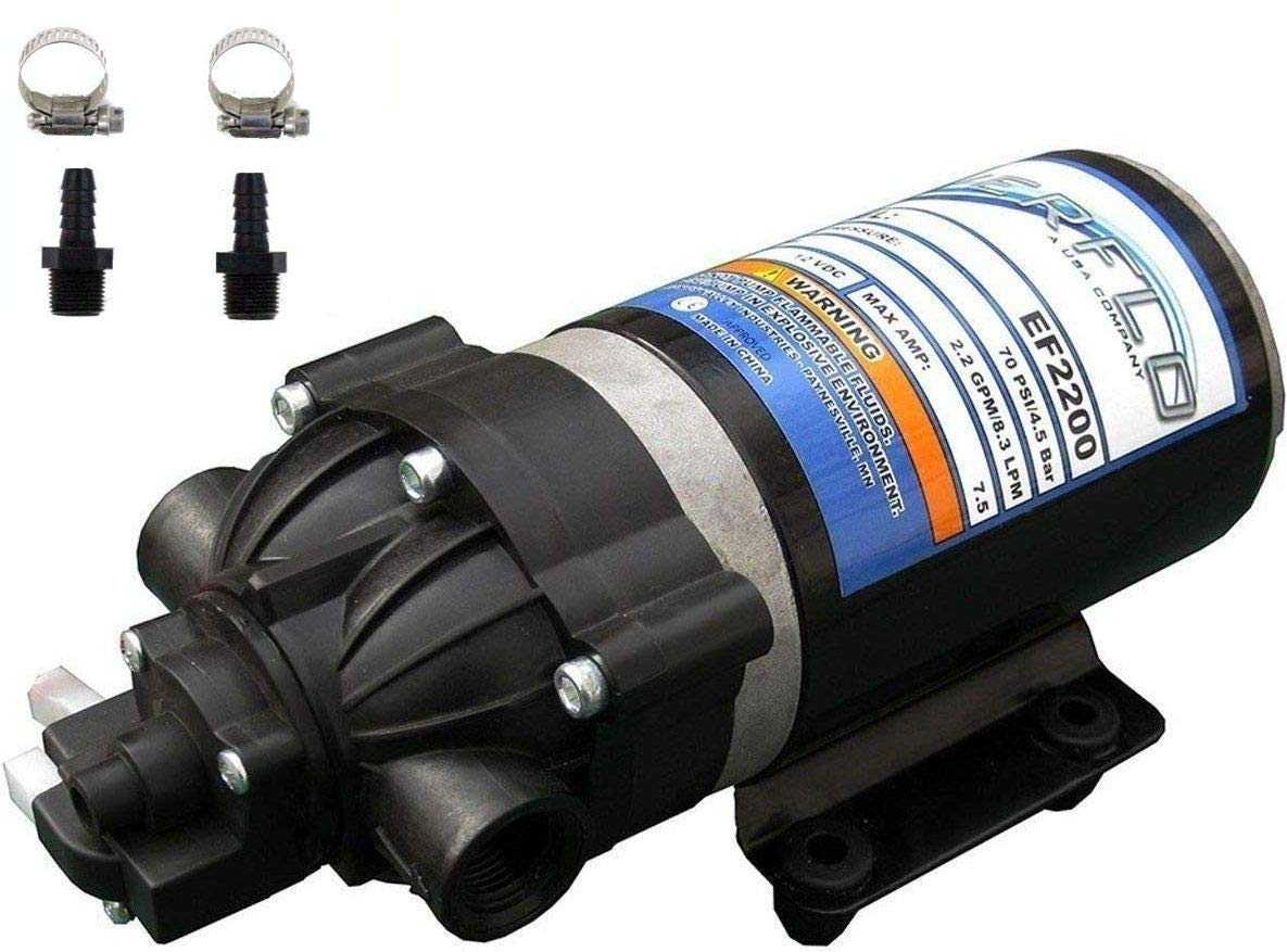Bundle, 2 Items Everflo EF2200 12V Diaphragm Pump with Male 3//8-Inch Hose Barb Kit