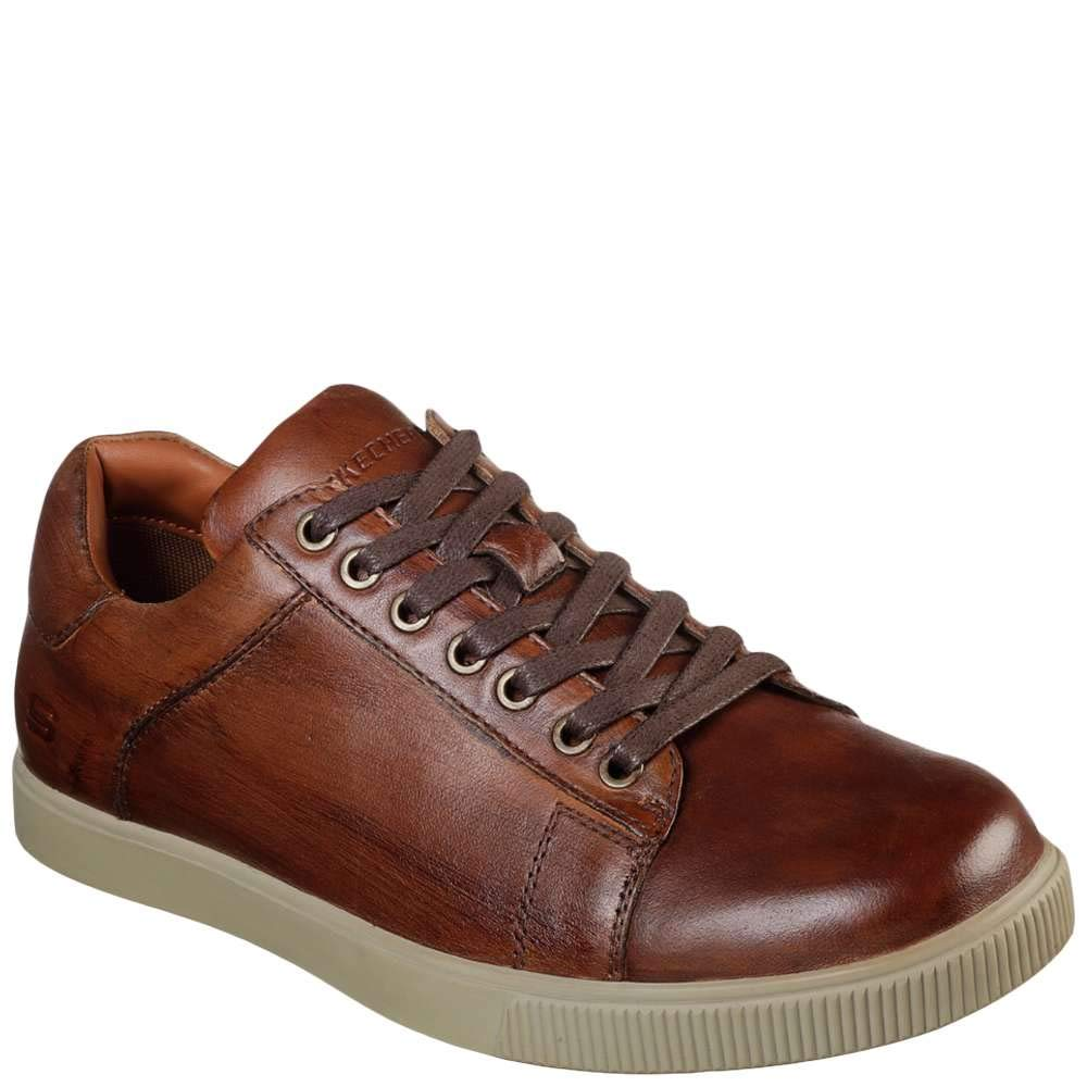 Skechers Men's Lifestyle 65323 Low Profile Leather Lace Up, Tan - 13