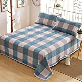 Oasis Hemp Bedding British Style Thickening Bedding Sheet Set with Natural Pattern 55% Hemp 45% Organic Cotton 7667 - Dream Blue Plaid