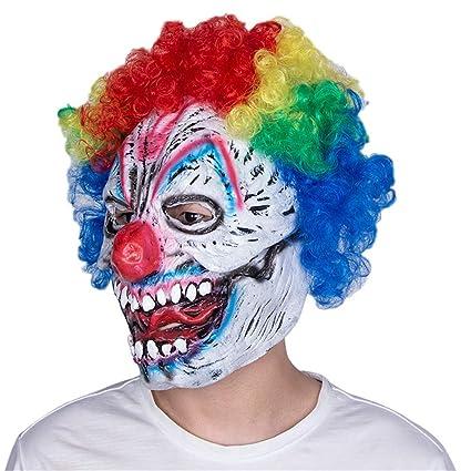 LDRAGON Halloween Sombrero De Látex Sonrisa Asesino Payaso Máscara 3D Efecto Bar Danza Fiesta Fiesta Espeluznante