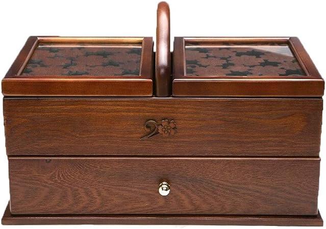 Bangxiu Mostrar joyero Caja de Almacenamiento Caja de Costura de Madera Retro Vintage Cosmetics Escritorio de Madera Caja de Almacenamiento Inicio Joyería (Color : Marrón, tamaño : 35×20×22.5cm): Amazon.es: Hogar