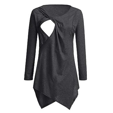 Pregnant Womens Maternity Long Sleeve Nursing Top Breastfeeding T-Shirt Blouse