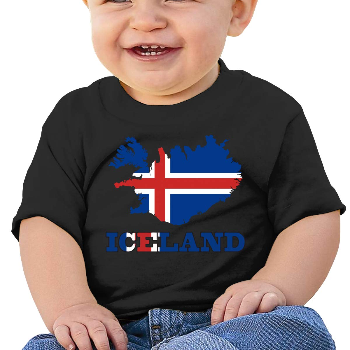 JVNSS Iceland Flag Map Baby T-Shirt Toddler//Infant Cotton T Shirts Fashion Graphic Tees for 6M-2T Baby