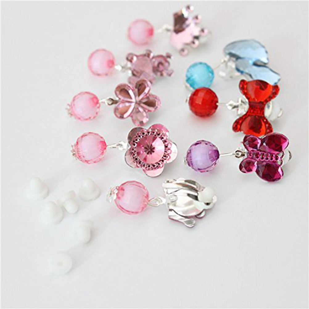 SUPVOX 7 Pairs of Children Kids Little Girl Shiny Clip on Earrings Girl Pretend Play Earrings