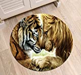 LB Lion Tiger Round Rug Mat for Living Room Kitchen Dining Room Indoor Floor, Brown African Wildlife Savanna Animal Theme Decoration Area Rug Mat, 4'