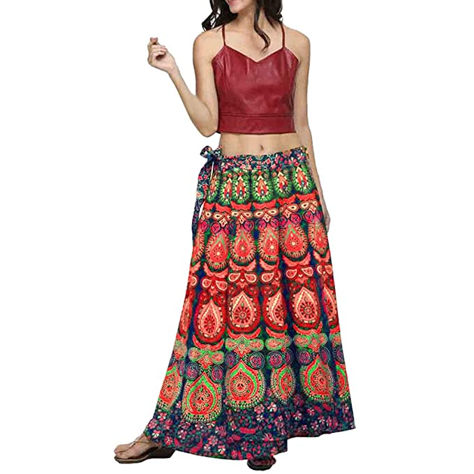 BODOAO Women Loose Boho Long Beach Skirt Multicolor Feather Print Casual Skirt