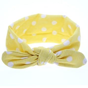 Fashion new Baby Girls Headband Rabbit Ears Elastic Wave Point Bowknot Headband