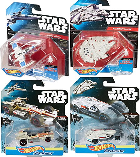 Hot Wheels Star Wars Starship & Carships 2-Pack Millennium Falcon & X-Wing Fighter with Flight Navigator 4 Set
