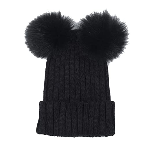 Opromo Women s Winter Chunky Knit Beanie Hat with Double Faux Fur Pom Pom  Ears-Black 5a752605000