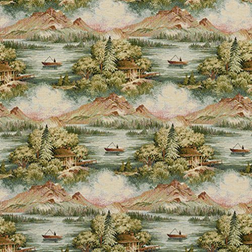 J9600A Multi Colored Cabin in The Wilderness with Mountains Woven Decorative Novelty Upholstery Fabric by The Yard ()