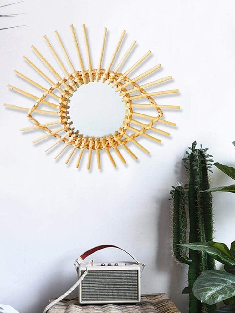 Specchio da Parete in Vimini Nordico Soggiorno Camera da Letto Bestlle Stile Vintage Decorazione Creativa per Appartamento