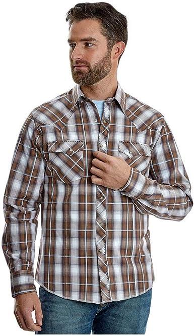 Wrangler - Camiseta de Manga Larga para Hombre, diseño de Cuadros, Color marrón: Amazon.es: Ropa y accesorios