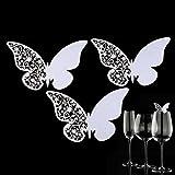 50 pcs Coloque las tarjetas Mariposa para los vasos de vino,AZX,Tarjeta de Copa para la fiesta,la boda ect,Elegante Decoración Santo para Vaso Copa de Vino (Blanco)