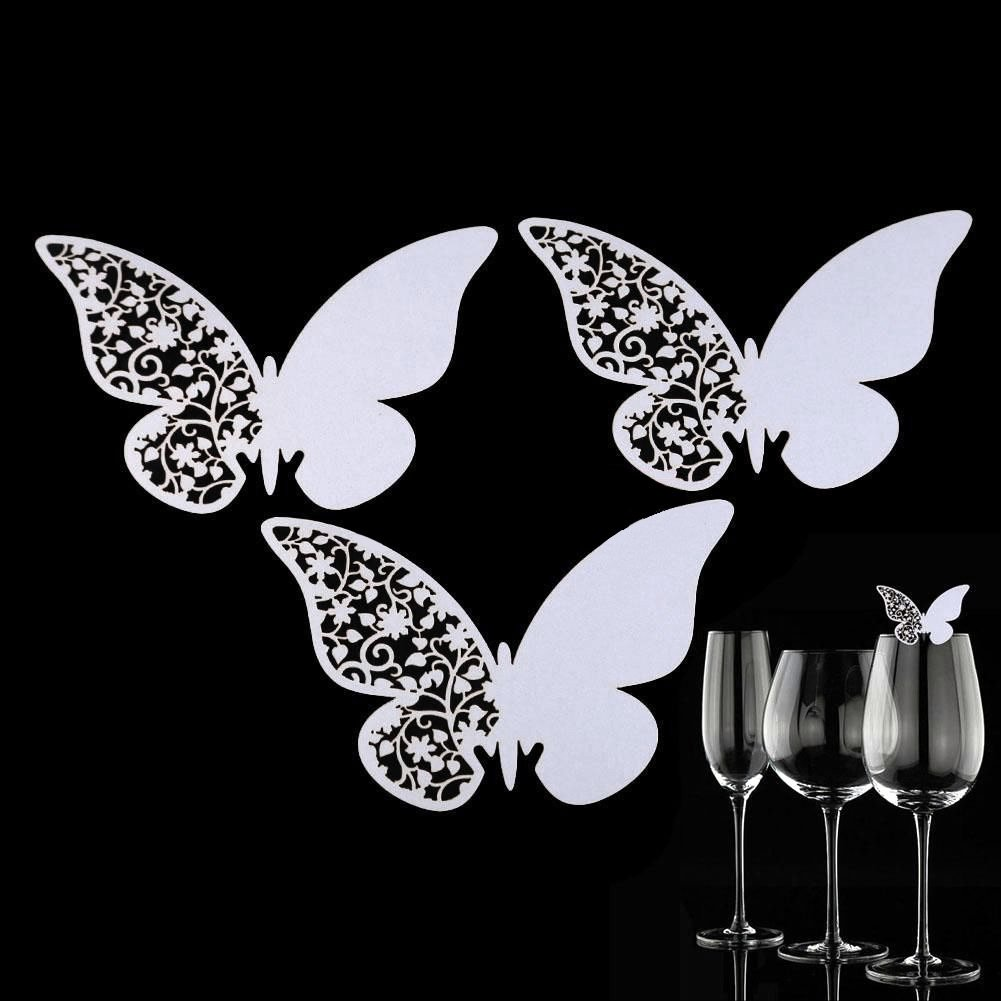 Pack of 50 Laser Cut White Butterfly Shape Wedding Table Number Name Place Card For Wine Glasses Wedding Party Birthday Decoration Favour zsl