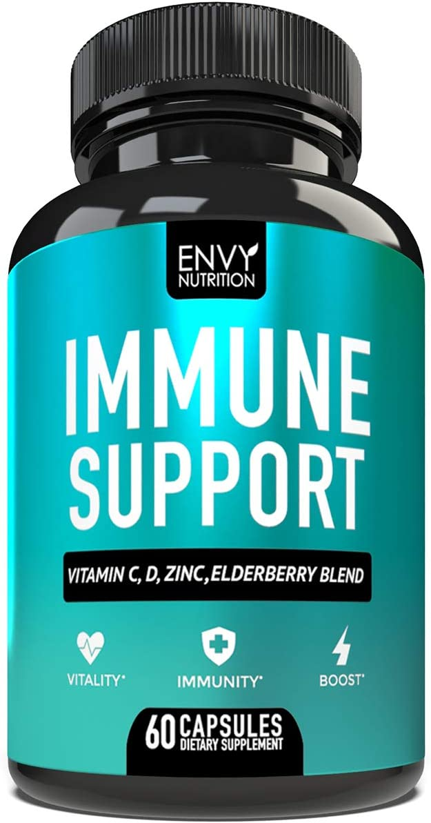 Immune Support – Immunity Boost Supplement with Elderberry, Vitamin C, Echinacea Zinc – Once Daily Immune System Booster for Adults – 60 Capsules
