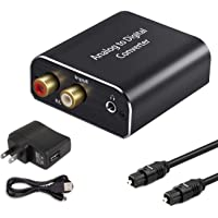 Analog to Digital Audio Converter, Hdiwousp Aluminum RCA to Optical Adapter with Toslink Cable, 2RCA R/L or 3.5 mm Jack…