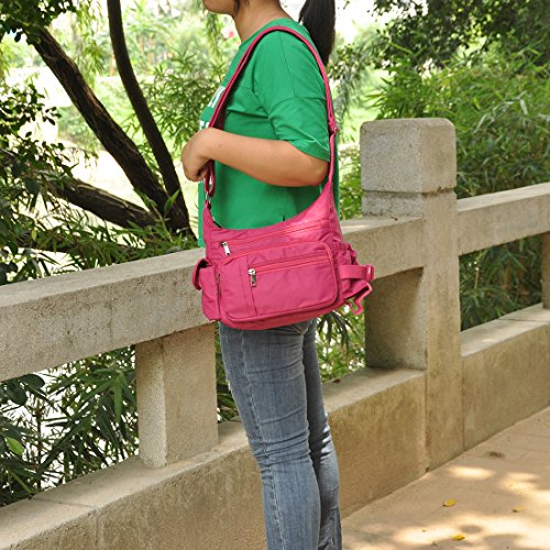 Women Lightweight Nylon Pocketbooks Multi Handbag 6068 Crossbody Shoulder for hotpink Bags Pockets Waterproof Rock Volcanic wxgqTZg