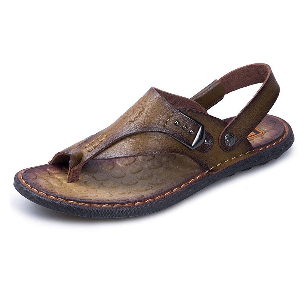 Chanclas Ocasionales de los Hombres Zapatos de Cuero de la PU Zapatillas de Playa Antideslizante Trabajo Hecho a Mano Sandalias Planas Suaves Ajustable sin Respaldo 41 EU|Caqui