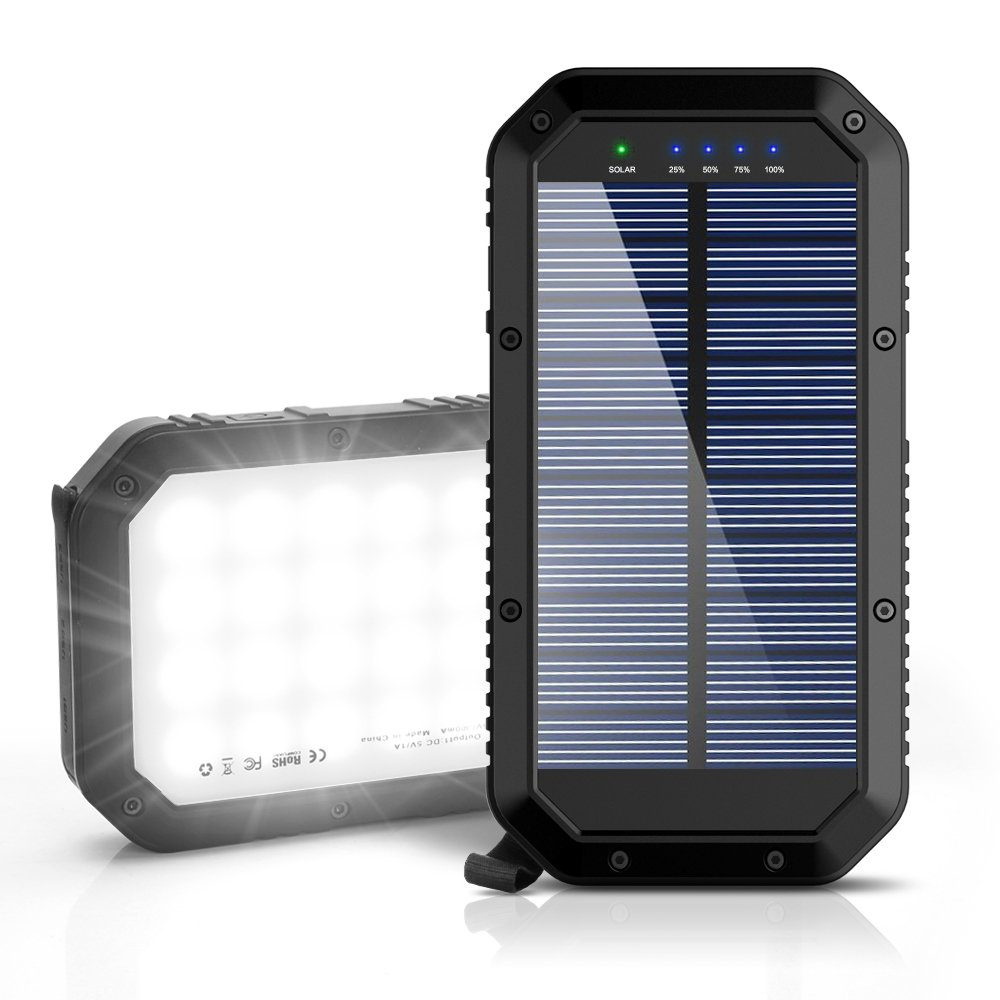 Solar Charger, Ayyie 25000mAh Solar Power Bank, 3-Port Output & 36 LED Light Solar Phone Charger, Fast Charger Technology External Battery Pack for iPhone ipad Tablet Samsung HTC Android Phone by Ayyie