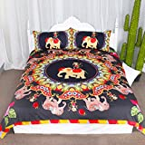 Elephant and Monkey Duvet Cover Set 3 Pieces Jungle Animal Friends Print Bedspread Coverlet Set Safari Gift Ideas Bedding Set (Queen)