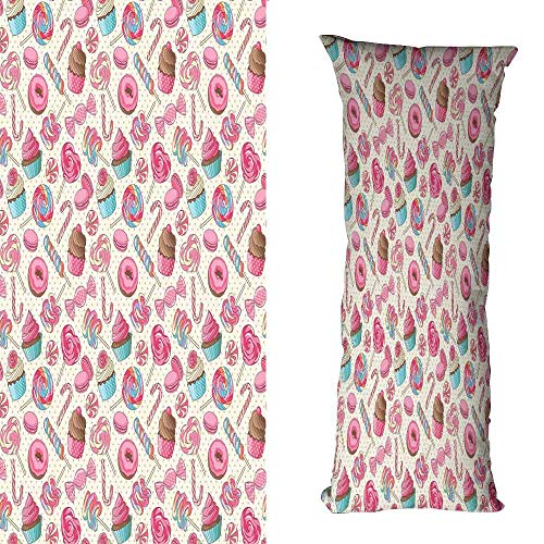 duommhome Candy Cane Breathable Pillowcase Yummy Sweet Lollipop Candy Macaroon Cupcake and Donut on Polka Dots Pattern Protect The Waist W19.6X L59 inch Multicolor