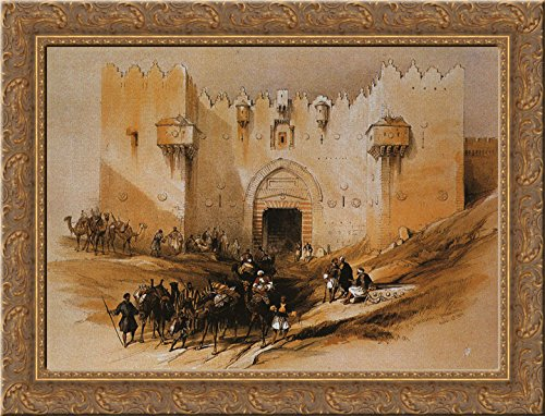 Jerusalem. The Damascus Gate 24x18 Gold Ornate Wood Framed Canvas Art by David Roberts