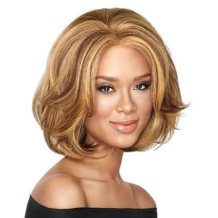 Babysbreath Peluca corta peluca rubia sintética peluca de pelo corto rizado colores dorados