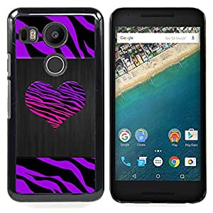 FOR LG Google Nexus 5X Queen Pattern - Zebra Stripes Heart Brushed Metal Purple - Doble capa de armadura de la cubierta del caso del protector -