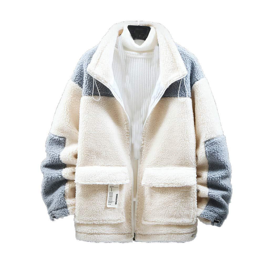 Eoeth Men's Woolen Overcoat Tunic Autumn Winter New Trend Wild Casual Lamb Hair Warm Cotton Coat Lapel Zipper Outwear Beige by Eoeth