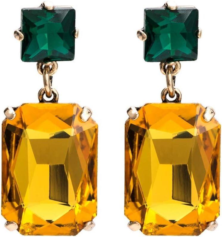XAFXAL Pendientes De Mujer,La Mujer Moda Pendientes Brillantes Colgante De Cristal Grande Espárrago Cuadrado Amarillo Pendientes Joyería De Moda Moda para La Mujer Declaración Bohemio Pendientes