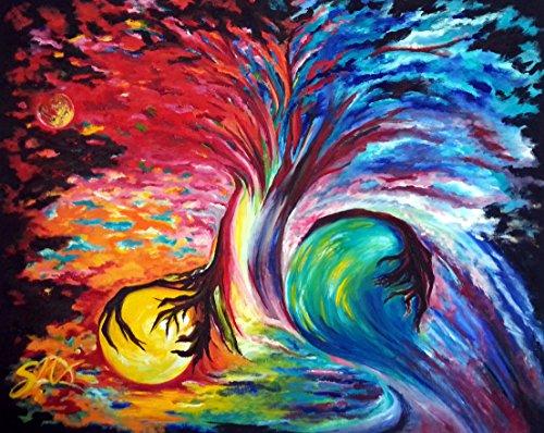 Original Oil Large Painting Modern Art sale, Wall Art Chakra / Rainbow