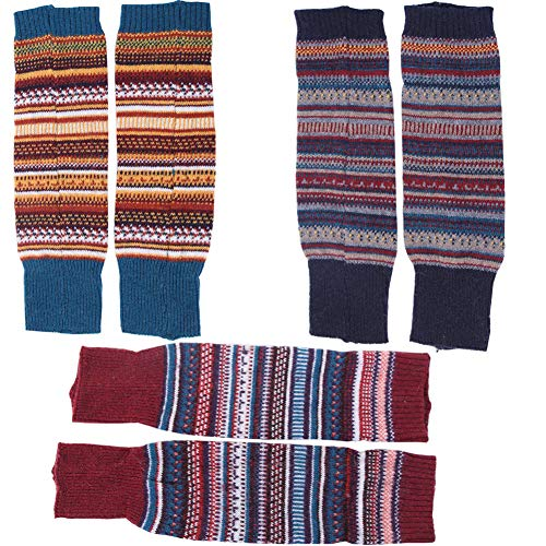 Lucky staryuan Women Set of 3 Wool Knit Leg Warmer Boot Warmer (Style 2)
