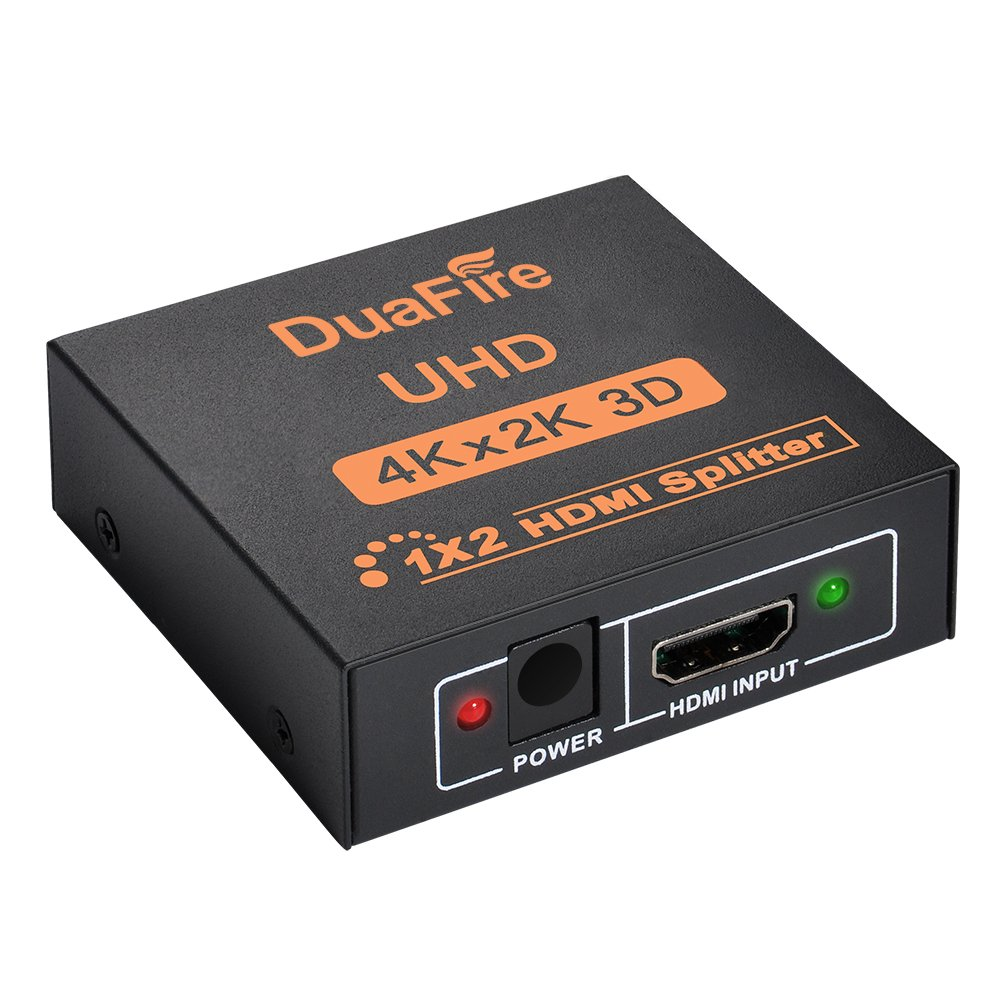 DuaFire HDMI Splitter, 4Kx2K HDMI Splitter 1x2 Mini HDMI Switcher Adapter Box 1 In 2 Out with Full Ultra HD 1080P & 3D for Apple TV DVD PS3 PS4 Xbox Blu-ray (1 Input 2 Output)