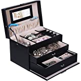 SONGMICS Black Jewelry Box Lockable Organizer with Mini Travel Case UJBC126B