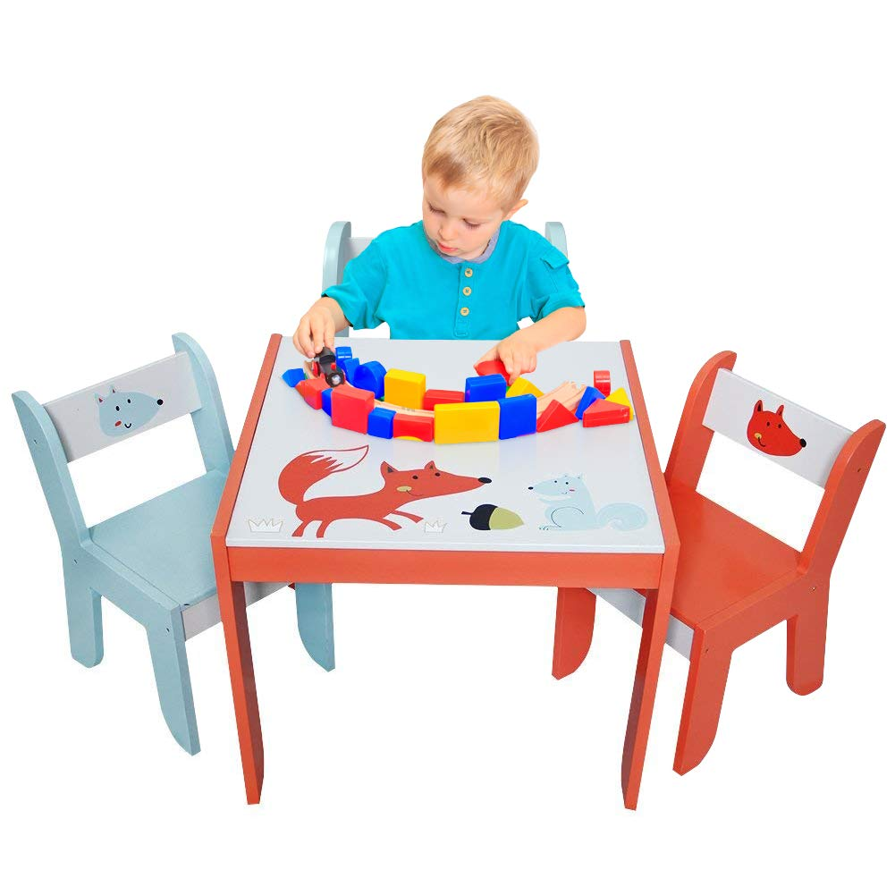 labebe - Wood Table Set for Kids 1-5 Years, Activity Table Chair Set, Study Table and Chair for Children, Baby Wooden Table Set for Drawing, Toddler Game/Drafting Table Chair, Infant Play Desk Table by labebe