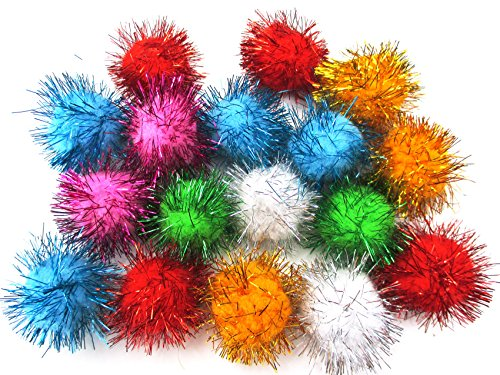 New ALL in ONE Assorted Color Pom Pom Sparkle Balls Cat
