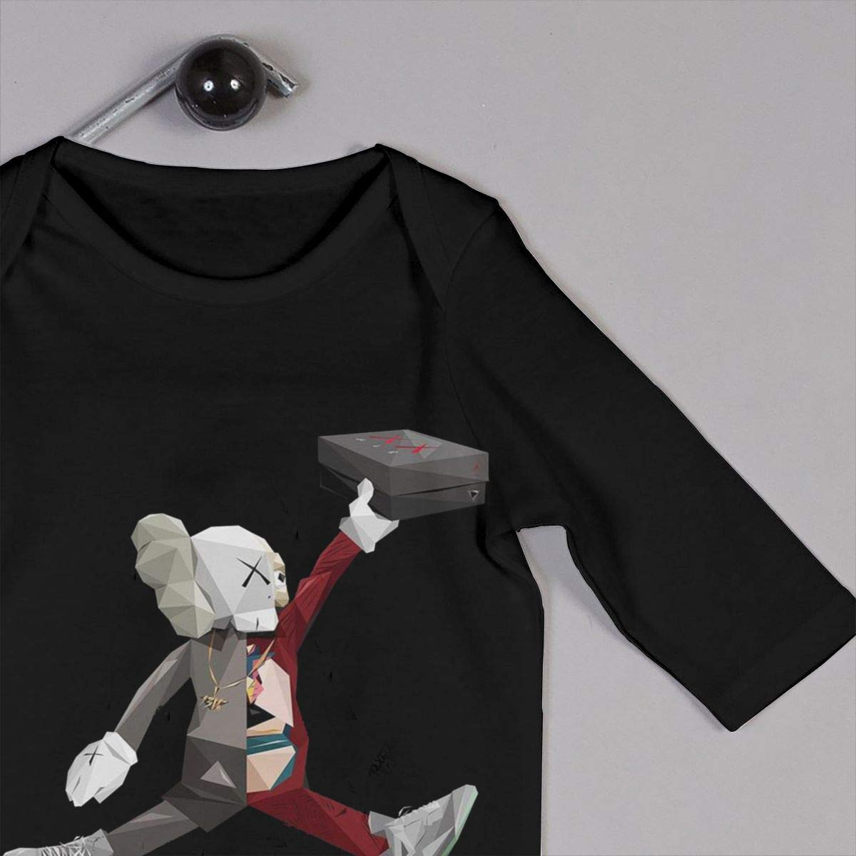 SININIDR Newborn Jumpsuit Infant Baby Girls KAWS Long-Sleeve Bodysuit Playsuit Outfits Clothes Black