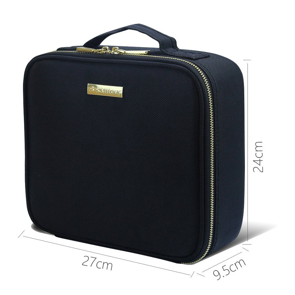 Travel Makeup Case,Samtour- Professional Cosmetic Makeup Bag Organizer,Accessories Case, Tools case (Black-M) by Chomeiu (Image #4)